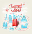 around world concept world travel color vector image