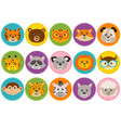 basic rgbset isolated cute animal heads vector image