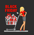 black friday sale shop cart shopping woman vector image vector image