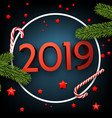 blue 2019 happy new year card with fir and candy vector image vector image