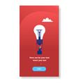 businessman flying light bulb air balloon hold vector image