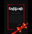 certificate template with red ribbon on black vector image
