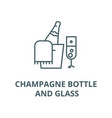 champagne bottle and glass line icon vector image vector image