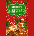 christmas cookie greeting card of new year dessert vector image vector image
