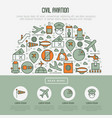 civil aviation concept in half circle vector image vector image