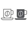 coffee mug line and glyph icon food and drink vector image vector image