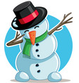 cool dabbing snowman cartoon vector image vector image