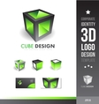 Corporate cube grey green 3d logo vector image