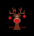festive christmas reindeer wearing face mask vector image vector image
