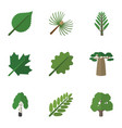 flat icon nature set of jungle oaken linden and vector image vector image