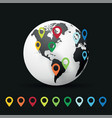globe and pin pointer location vector image vector image