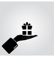 Hand and gifts icon vector image vector image