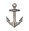 hand drawn anchor in engraving style design vector image