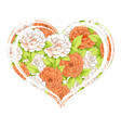 heart of carnations vector image vector image