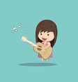 kid playing guitar against drawing by hand vector image vector image