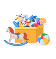 kids toy box cartoon children play container with vector image