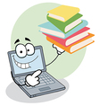 Laptop Guy Holding Books vector image vector image