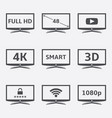 modern lcd tv icons vector image vector image