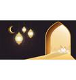 muslim holiday eid al-adha white sheep vector image