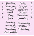 names days week and months vector image