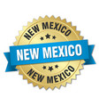 new mexico round golden badge with blue ribbon vector image vector image