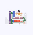 online distant education concept woman sitting at vector image