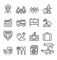 refugee immigrant icons set in thin line style vector image vector image