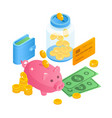 savings money concept in isometric 3d vector image