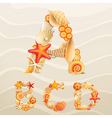 sea life font on sand vector image