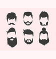 set hipster retro hair style mustache vector image