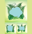 three frames with green leaves in background vector image vector image