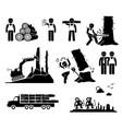 timber logging worker deforestation stick figure vector image vector image