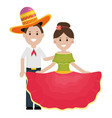 traditional mexicans couple with mariachi hat vector image vector image