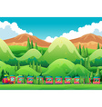 Train ride through the green field vector image