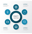 user outline icons set collection of database vector image vector image