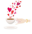 valentine s day woman hand holding coffee cup vector image vector image
