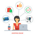 woman on shopping online vector image vector image