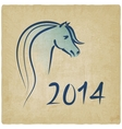 year blue horse 2014 background vector image