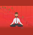 young man trader meditating under falling crypto vector image vector image