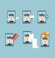 set of businessman with mobile smartphone vector image