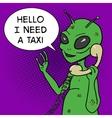 Alien talking phone pop art style vector image