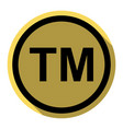 trade mark sign flat black icon with flat vector image