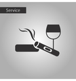 black and white style cigar glass of wine vector image