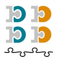 10 ten puzzle linked number letter d vector image vector image