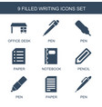 9 writing icons vector image vector image