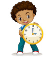 African American boy holding a clock vector image