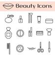 Beauty cosmetics line icon set vector image vector image