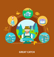 big fish strike composition vector image vector image