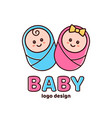 boy and girlbaby showernewborn logo vector image vector image