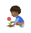Boy Planting A Flower vector image vector image